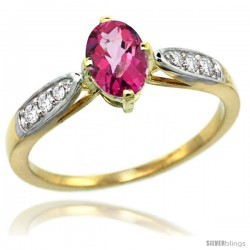 14k Gold Natural Pink Topaz Ring 7x5 Oval Shape Diamond Accent, 5/16inch wide