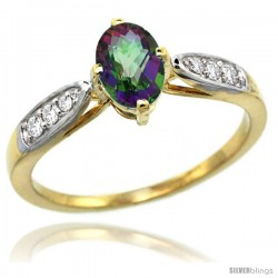14k Gold Natural Mystic Topaz Ring 7x5 Oval Shape Diamond Accent, 5/16inch wide