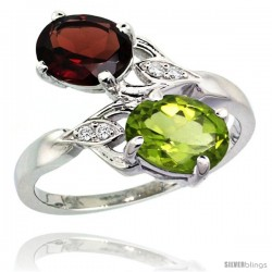 14k White Gold ( 8x6 mm ) Double Stone Engagement Garnet & Peridot Ring w/ 0.04 Carat Brilliant Cut Diamonds & 2.34 Carats Oval