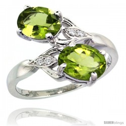 14k White Gold ( 8x6 mm ) Double Stone Engagement Peridot Ring w/ 0.04 Carat Brilliant Cut Diamonds & 2.34 Carats Oval Cut
