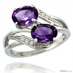 14k White Gold ( 8x6 mm ) Double Stone Engagement Amethyst Ring w/ 0.07 Carat Brilliant Cut Diamonds & 2.34 Carats Oval Cut