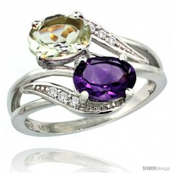 14k White Gold ( 8x6 mm ) Double Stone Engagement Purple & Green Amethyst Ring w/ 0.07 Carat Brilliant Cut Diamonds & 2.34