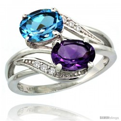 14k White Gold ( 8x6 mm ) Double Stone Engagement Amethyst & Swiss Blue Topaz Ring w/ 0.07 Carat Brilliant Cut Diamonds & 2.34