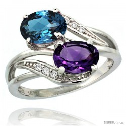 14k White Gold ( 8x6 mm ) Double Stone Engagement Amethyst & London Blue Topaz Ring w/ 0.07 Carat Brilliant Cut Diamonds & 2.34