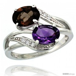 14k White Gold ( 8x6 mm ) Double Stone Engagement Amethyst & Smoky Topaz Ring w/ 0.07 Carat Brilliant Cut Diamonds & 2.34