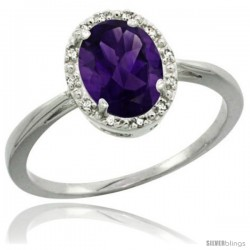 Sterling Silver Natural Amethyst Diamond Halo Ring 1.17 Carat 8X6 mm Oval Shape, 1/2 in wide