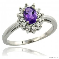 Sterling Silver Natural Amethyst Diamond Halo Ring Oval Shape 1.2 Carat 6X4 mm, 1/2 in wide