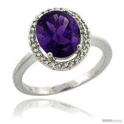 Sterling Silver Diamond Halo Natural Amethyst Ring 2.4 carat Oval shape 10X8 mm, 1/2 in (12.5mm) wide
