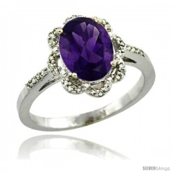 Sterling Silver Diamond Halo Natural Amethyst Ring 1.65 Carat Oval Shape 9X7 mm, 7/16 in (11mm) wide