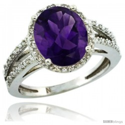 Sterling Silver Diamond Halo Natural Amethyst Ring 2.85 Carat Oval Shape 11X9 mm, 7/16 in (11mm) wide