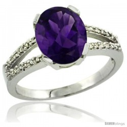 Sterling Silver and Diamond Halo Natural Amethyst Ring 2.4 carat Oval shape 10X8 mm, 3/8 in (10mm) wide