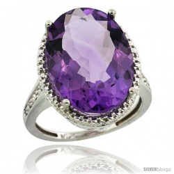 Sterling Silver Diamond Natural Amethyst Ring 13.56 Carat Oval Shape 18x13 mm, 3/4 in (20mm) wide