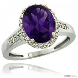 Sterling Silver Diamond Natural Amethyst Ring 2.4 ct Oval Stone 10x8 mm, 1/2 in wide