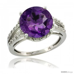 Sterling Silver Diamond Natural Amethyst Ring 5.25 ct Round Shape 11 mm, 1/2 in wide