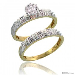 10k Yellow Gold Diamond Engagement Rings Set 2-Piece 0.09 cttw Brilliant Cut, 1/8 in wide -Style 10y017e2