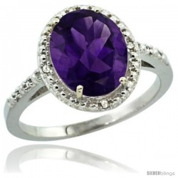 Sterling Silver Diamond Natural Amethyst Ring 2.4 ct Oval Stone 10x8 mm, 1/2 in wide -Style Cwg01111