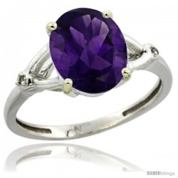 Sterling Silver Diamond Natural Amethyst Ring 2.4 ct Oval Stone 10x8 mm, 3/8 in wide