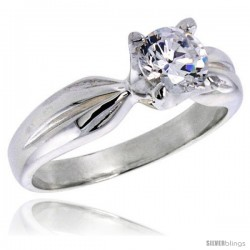 Sterling Silver Ladies' Cubic Zirconia Ring 1 ct. size CZ Flawless finish -Style Rcz306