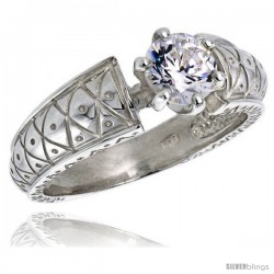 Sterling Silver Ladies' Cubic Zirconia Ring Vintage Style 1 ct. size CZ Flawless finish