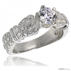 Sterling Silver Ladies' Cubic Zirconia Ring Vintage Style 1 ct. size CZ Flawless finish -Style Rcz308