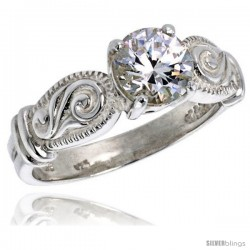 Sterling Silver Ladies' Cubic Zirconia Ring Vintage Style 1 1/4 ct. size CZ Flawless finish
