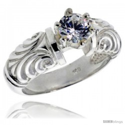 Sterling Silver Ladies' Cubic Zirconia Ring 1 ct. size CZ Vintage Style Flawless finish