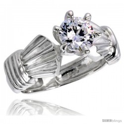 Sterling Silver Ladies' Cubic Zirconia Ring 1 ct. size CZ Flawless finish -Style Rcz311