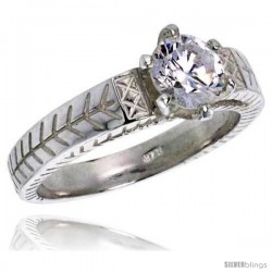 Sterling Silver Ladies' Cubic Zirconia Ring 1 ct. size CZ Vintage Style Flawless finish -Style Rcz312