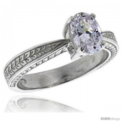Sterling Silver Ladies' Cubic Zirconia Ring Vintage Style 1 1/4 ct. size Oval CZ Flawless finish