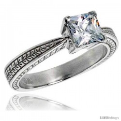 Sterling Silver Ladies' Cubic Zirconia Ring Vintage Style 1 ct. size Princess CZ Flawless finish