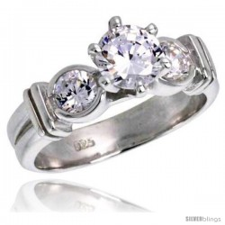 Sterling Silver Ladies' Cubic Zirconia Ring Vintage Style 1 ct. size 3-stone CZ Flawless finish