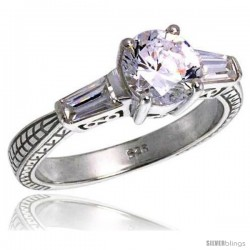 Sterling Silver Ladies' Tapered Baguette Cubic Zirconia Engagement Ring Vintage Style Flawless finish