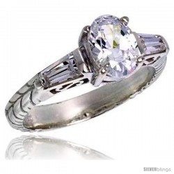 Sterling Silver Tapered Baguette Oval Cubic Zirconia Engagement Ring 1.25 ct. Vintage Style Flawless finish