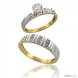10k Yellow Gold Diamond Engagement Rings 2-Piece Set for Men and Women 0.11 cttw Brilliant Cut, 3.5mm & 5mm wide