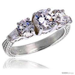 Sterling Silver Ladies' Cubic Zirconia 3-stone Ring Vintage Style Tapered Baguettes Flawless finish
