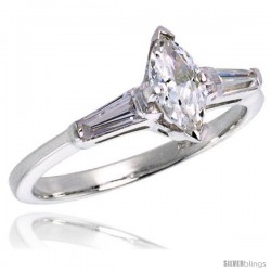 Sterling Silver .35 Carat size Marquise Cut Cubic Zirconia Bridal Ring