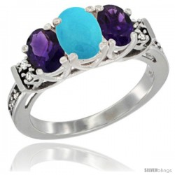 14K White Gold Natural Turquoise & Amethyst Ring 3-Stone Oval with Diamond Accent