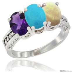14K White Gold Natural Amethyst, Turquoise & Opal Ring 3-Stone 7x5 mm Oval Diamond Accent