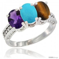 14K White Gold Natural Amethyst, Turquoise & Tiger Eye Ring 3-Stone 7x5 mm Oval Diamond Accent