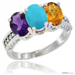 14K White Gold Natural Amethyst, Turquoise & Whisky Quartz Ring 3-Stone 7x5 mm Oval Diamond Accent