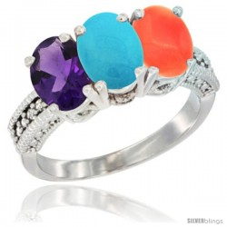 14K White Gold Natural Amethyst, Turquoise & Coral Ring 3-Stone 7x5 mm Oval Diamond Accent
