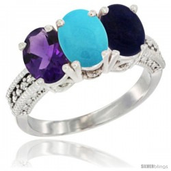 14K White Gold Natural Amethyst, Turquoise & Lapis Ring 3-Stone 7x5 mm Oval Diamond Accent