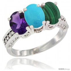 14K White Gold Natural Amethyst, Turquoise & Malachite Ring 3-Stone 7x5 mm Oval Diamond Accent