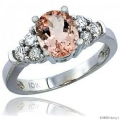10K White Gold Natural Morganite Ring Oval 9x7 Stone Diamond Accent