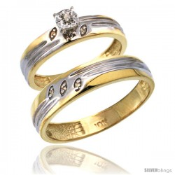 14k Gold 2-Pc Diamond Ring Set (4.5mm Engagement Ring & 5mm Man's Wedding Band), w/ 0.056 Carat Brilliant Cut Diamonds