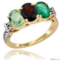 10K Yellow Gold Natural Green Amethyst, Garnet & Emerald Ring 3-Stone Oval 7x5 mm Diamond Accent