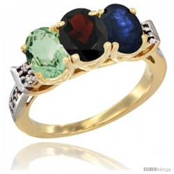 10K Yellow Gold Natural Green Amethyst, Garnet & Blue Sapphire Ring 3-Stone Oval 7x5 mm Diamond Accent