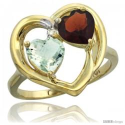 10k Yellow Gold 2-Stone Heart Ring 6mm Natural Green Amethyst & Garnet