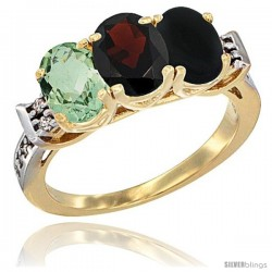 10K Yellow Gold Natural Green Amethyst, Garnet & Black Onyx Ring 3-Stone Oval 7x5 mm Diamond Accent