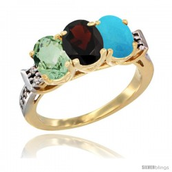 10K Yellow Gold Natural Green Amethyst, Garnet & Turquoise Ring 3-Stone Oval 7x5 mm Diamond Accent